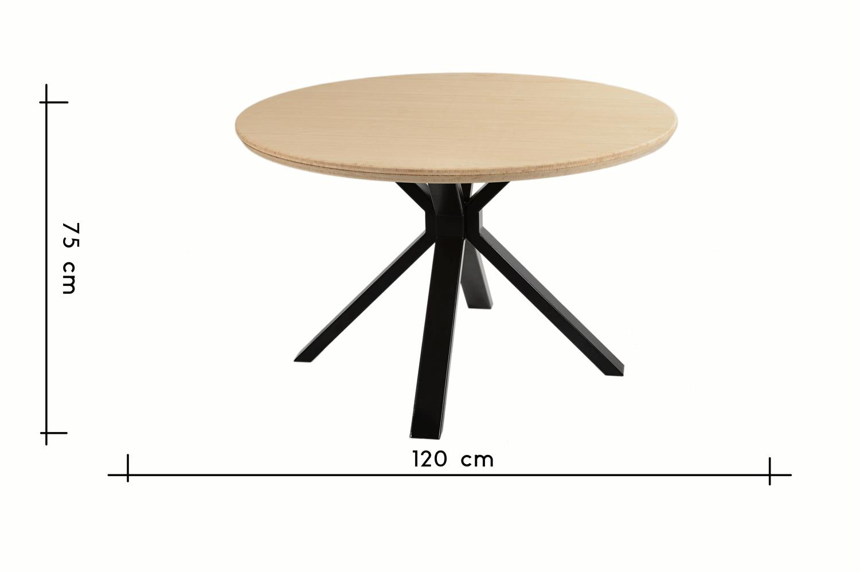 les dimensions de cette table ronde industrielle en bambou