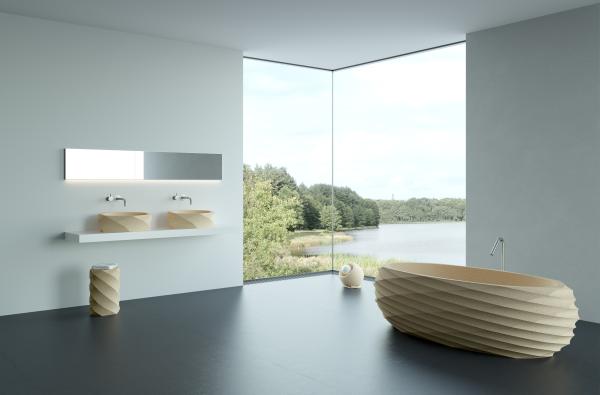 En plus de ces lavabos haut de gamme, nous avons également développé une collection complète d'éléments de salle de bain, y compris notre design le plus exclusif, une baignoire îlot luxueuse.