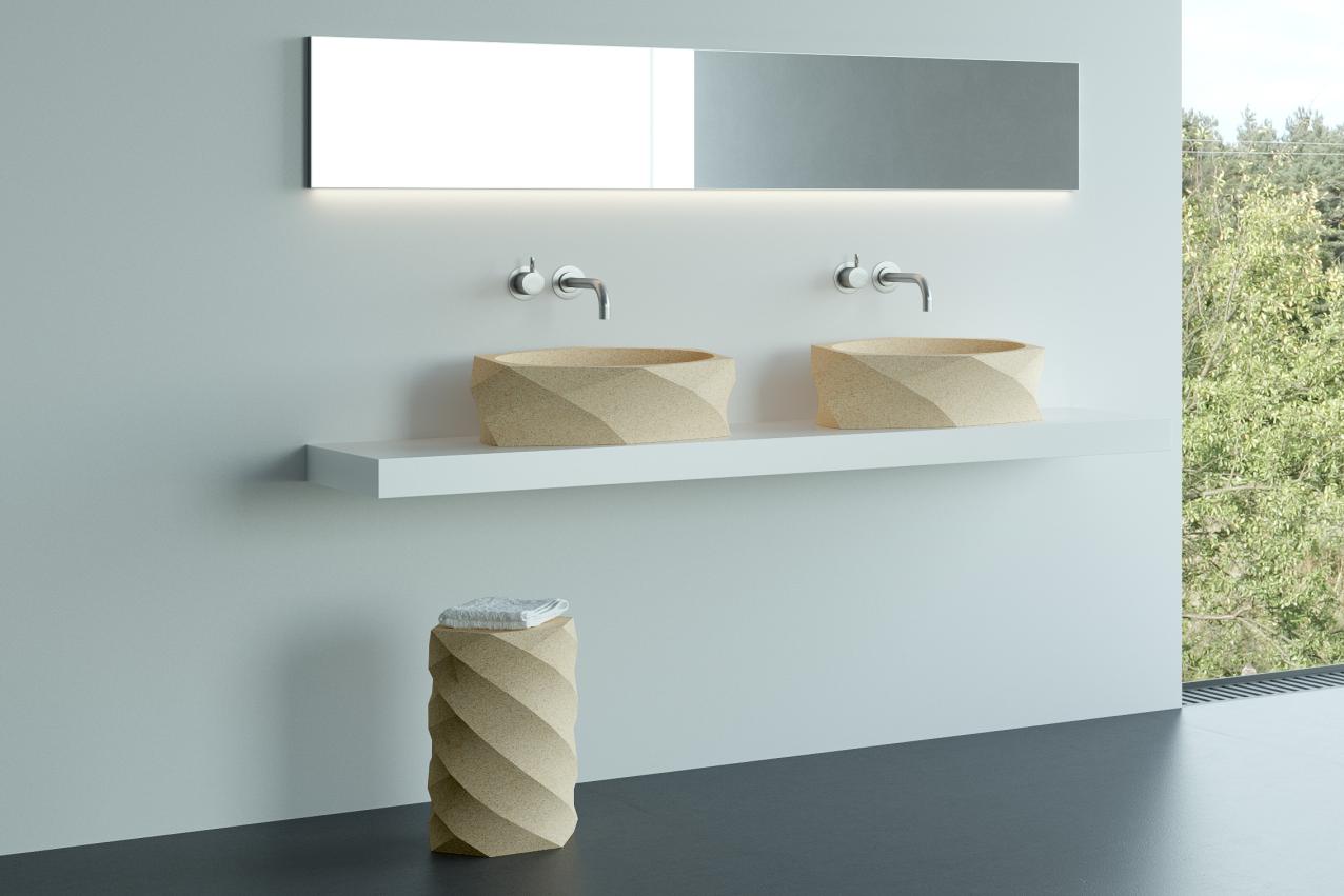 Utilisant les mêmes matériaux et principes de conception, ces lavabos uniques complètent la touche contrastée et naturelle pour une salle de bain moderne et originale.