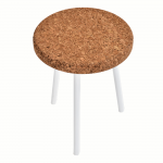 Table d'appoint Ronde-Ambre-Metal Blanc-2